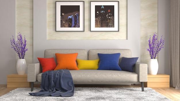 Interieur met sofa. 3d-afbeelding