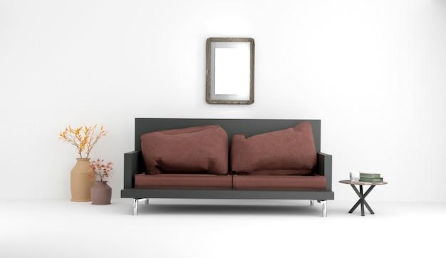 Interieur met sofa en planten met witte muur achtergrond. 3d-weergave.