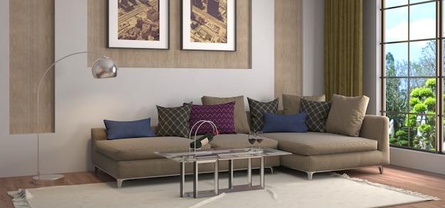Interieur met sofa gemaakt illustratie