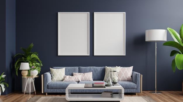 Interieur met verticaal leeg houten frame staande op houten vloer met sofa op donkere .3d-rendering