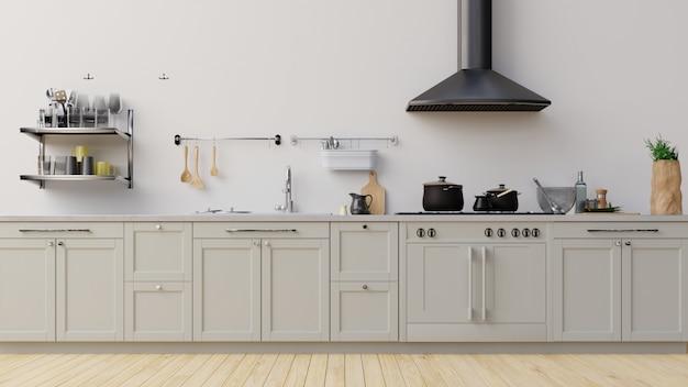 Interieur mock up keuken kamer 3d-rendering