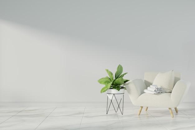 Interieur mock-up met grijs fluwelen fauteuil