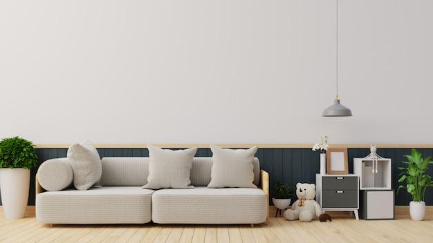 Interieur mock up woonkamer 3d-rendering