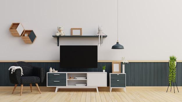 Interieur mock up woonkamer met donkerblauwe fauteuil en dressoir 3d-rendering
