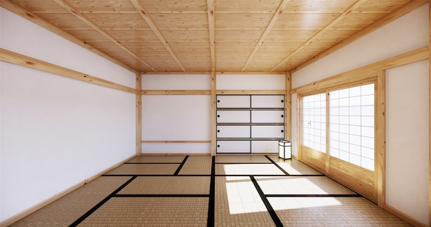 Interieur, moderne woonkamer met tatami mat en traditionele japanse deur op het beste raam uitzicht. 3d-rendering