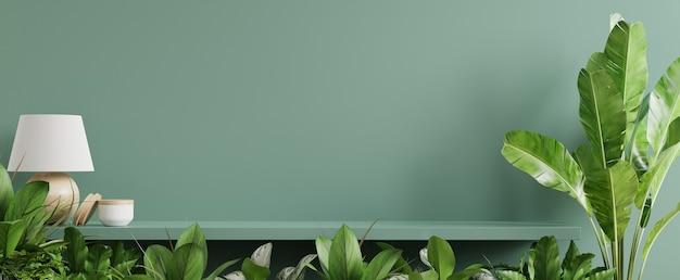 Interieur muur mockup met groene plant, groene muur en plank. 3d-rendering