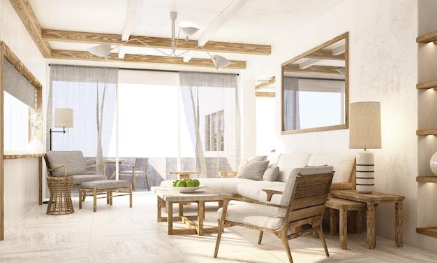 Interieur perspectief woonkamer met houten textuur meubels in appartement rendering
