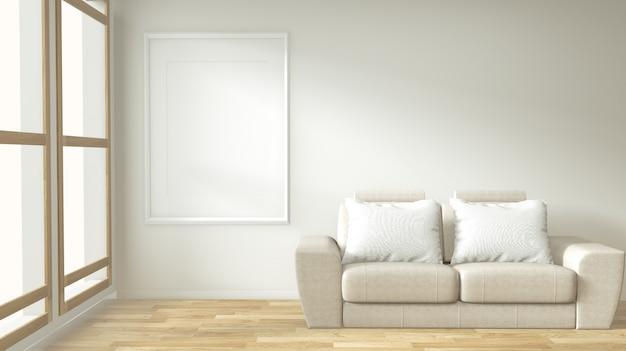 Interieur poster frame mock-up woonkamer met witte bank