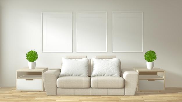 Interieur poster frame mock-up woonkamer met witte sofa kamer