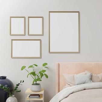 Interieur poster mock up met frames aan de muur in huis slaapkamer interieur.