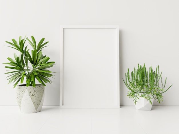 Interieur poster mock up met plantenpotten