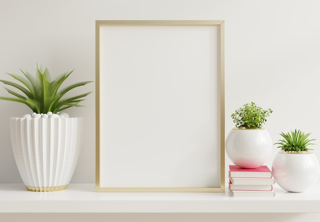 Interieur poster mock up met verticale metalen frame met sierplanten in potten op lege muur