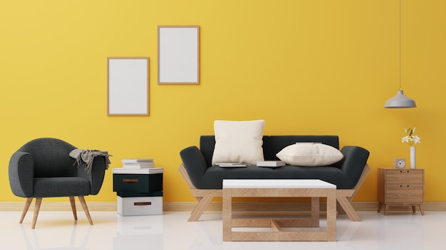 Interieur poster mock up woonkamer met donkere fauteuil 3d-rendering
