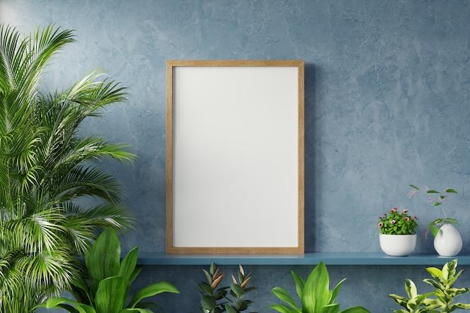 interieur poster mockup met plant in kamer met donkerblauwe muur.