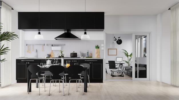 Interieur poster woonkamer en keuken met kleurrijke witte bank