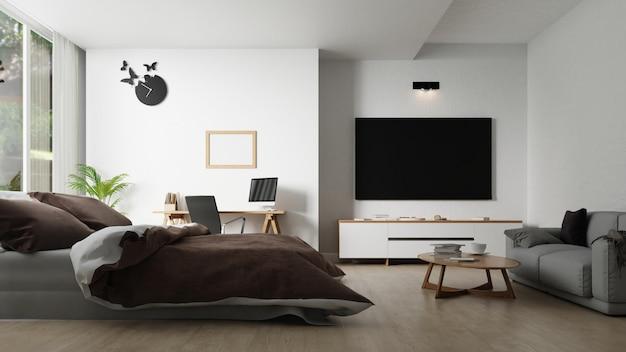 Interieur slaapkamer met tv-meubel. 3d-weergave