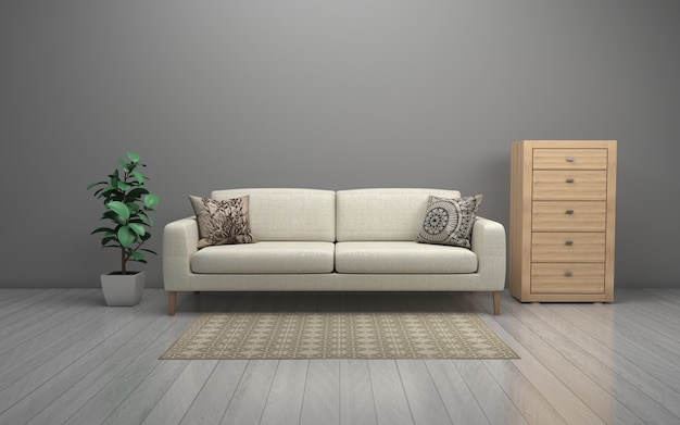 Interieur van de moderne woonkamer met sofa - bank en tafel