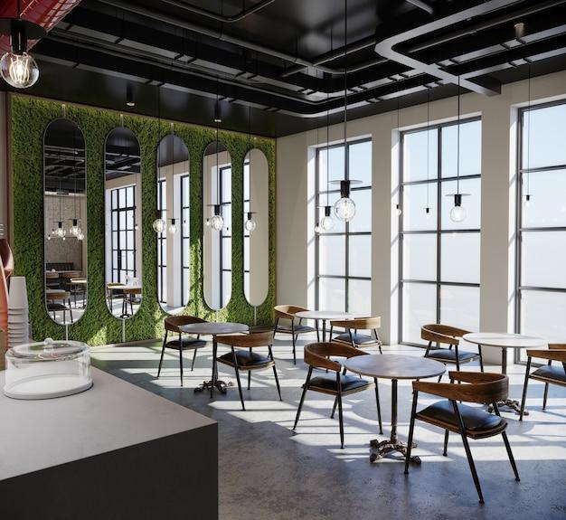 Interieur van een café-restaurant, 3d render