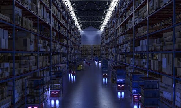 Interieur van een geautomatiseerd magazijn, drones op het werk, nachtzicht. 3d render