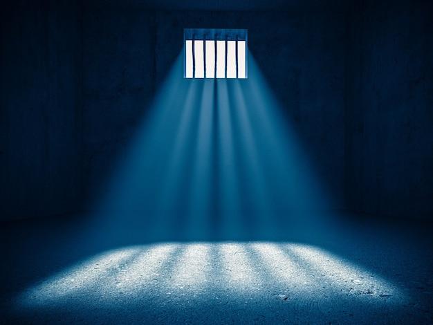 Interieur van een gevangenis, licht van een getralied raam. 3d render. concept van vrijheidsbeneming.