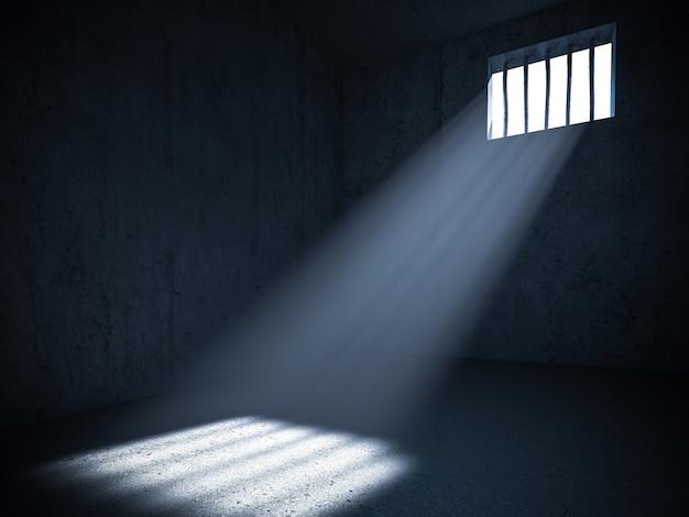 Interieur van een gevangenis met licht van een getralied raam. 3d render. concept van vrijheidsbeneming.