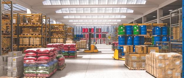 Interieur van een industrieel magazijn waar verschillende goederen worden opgeslagen.