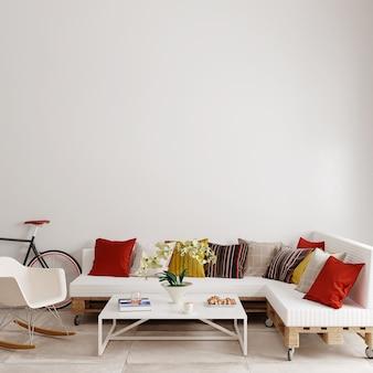 Interieur van een kamer met een bank en een witte fauteuil