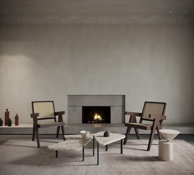 Interieur van een kamer met een open haard en stoelen