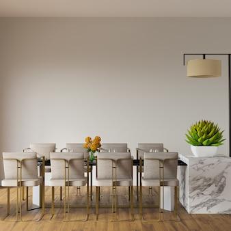 Interieur van een kamer met eettafel