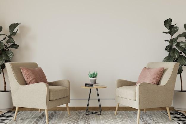 Interieur van een kamer met fauteuil en bloemen