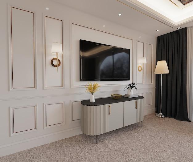 Interieur van een kamer met tv