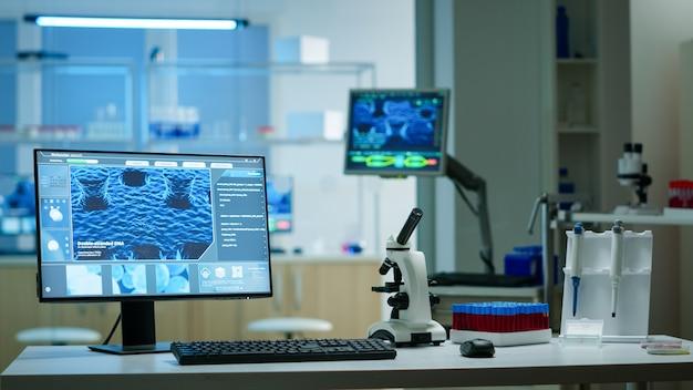 Interieur van een leeg wetenschappelijk laboratorium met moderne apparatuur die is voorbereid op farmaceutische innovatie met behulp van hightech, microbiologische hulpmiddelen voor wetenschappelijk onderzoek. vaccinontwikkeling tegen covid19-virus