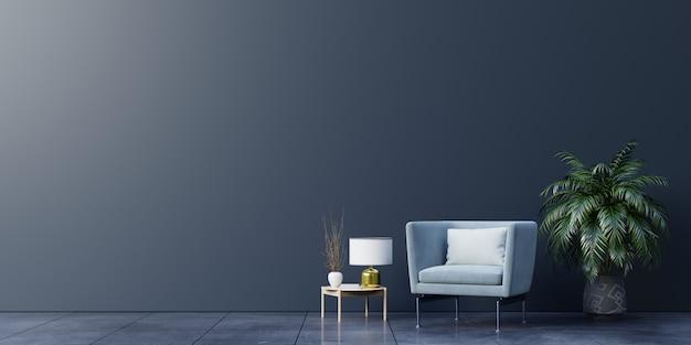 Interieur van een lichte woonkamer met fauteuil op lege donkere muur achtergrond.