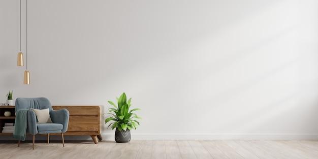 Interieur van een lichte woonkamer met fauteuil op lege witte muur achtergrond.