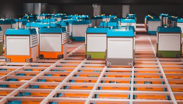 Interieur van een magazijn met geautomatiseerde logistiek. 3d render.