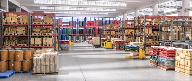 Interieur van een magazijn vol met verschillende goederen