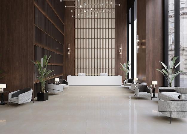 Interieur van een modern lobby-receptie-ontwerp