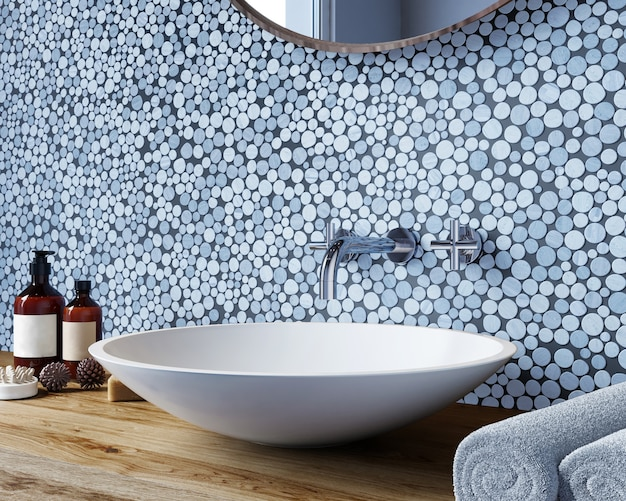 Interieur van een moderne badkamer met een muur met een ronde mozaïek van grijstinten. 3d-weergave.