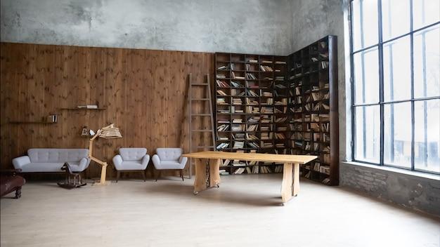 Interieur van een moderne fotostudio met een boekenkast