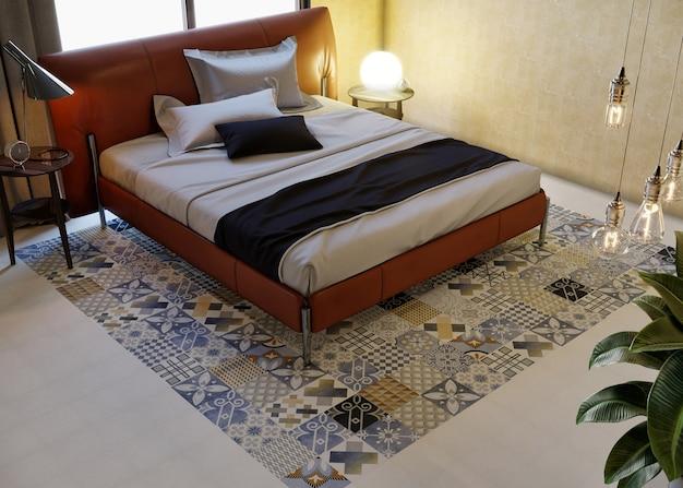 Interieur van een slaapkamer met keramische vloer
