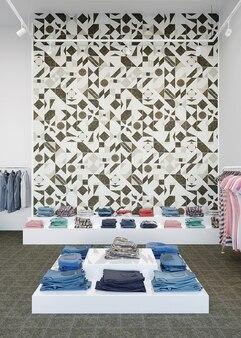 Interieur van een winkel met een kledingstandaard