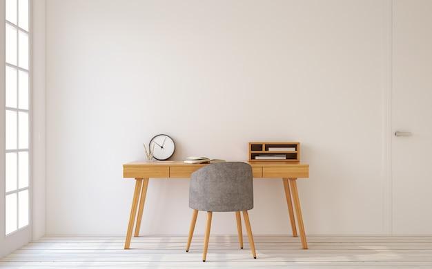 Interieur van kantoor aan huis in scandinavische stijl. 3d render.