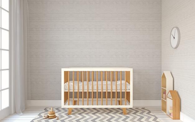 Interieur van kinderkamer in scandinavische stijl. 3d render.