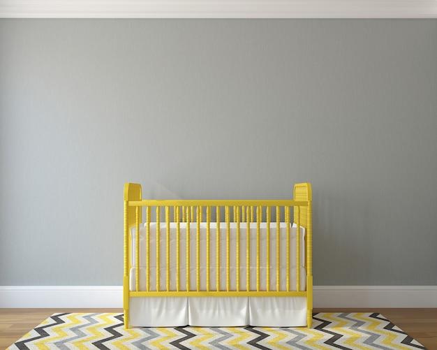 Interieur van kinderkamer met vintage gele wieg. 3d render.