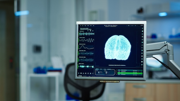 Interieur van leeg wetenschappelijk laboratorium met moderne apparatuur voorbereid op behandelingsinnovatie van nerveus. systeem met behulp van hightech- en microbiologische hulpmiddelen voor wetenschappelijk onderzoek in neurologisch laboratorium