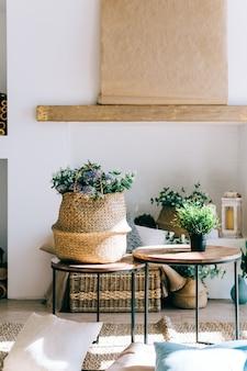 Interieur van lichte woonkamer in scandinavische stijl met salontafel en planten.