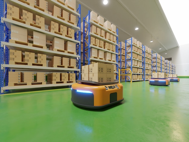 Interieur van magazijn in logistiek centrum met geautomatiseerd geleid voertuig is een leveringsvoertuig.