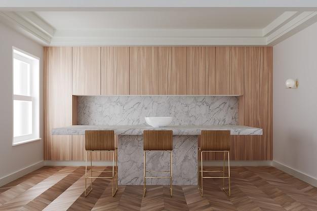 Interieur van moderne keuken met houten kasten, lange witte marmeren bar met houten krukken. 3d-weergave