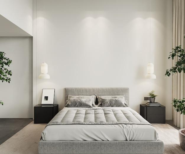 Interieur van slaapkamer met een bed en lampen, 3d render, muurmodel, lege muurmodel