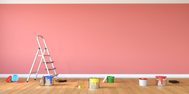 Interieur verbouwen en schilderen. hulpmiddelen voor tekenen en verf in lege ruimte, 3d-rendering